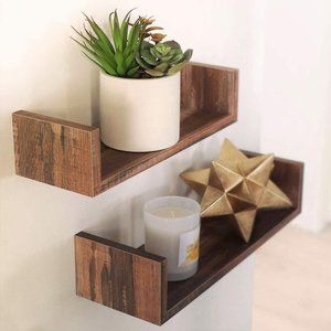 Set of Rustic Floating Wall Shelves